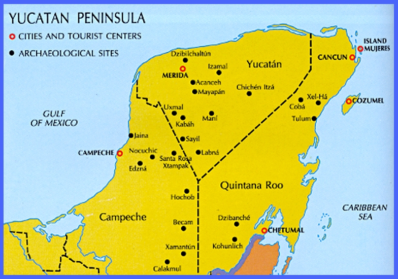 map of ruins on the yucatn peninsula mexico